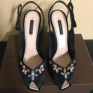 Louis Vuitton black satin & jeweled peep toe heels